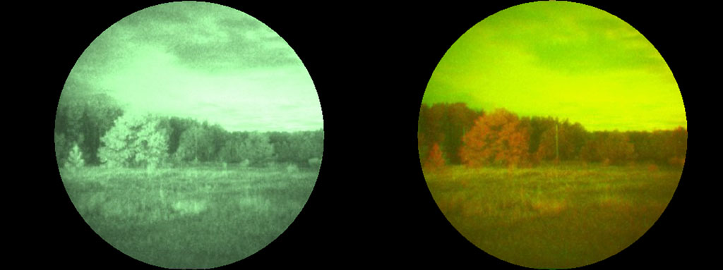 an enlarged view of the comparative example between a standard green anvis night vision goggle and the new ai sentinel cnv color night vision goggle