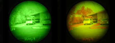 Standard Green ANVIS night vision goggle v.s. CNVS Color night vision goggle