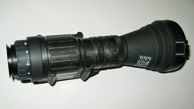 Minus-B filter mounted on PVS-14 with 3X afocal screwed into Minus-B filter