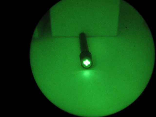 Green flashlight through a PVS-14 with the Minus-B filter